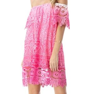 Sky XS $270 Jabir Mini Dress Hot Pink White Lace